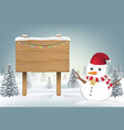 christmas snowman with wood board sign on snow vector image vector image