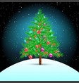 christmas tree on snow hill vector image vector image