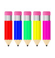 colored pencils with eraser vector image