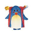 cute blue penguin with backpack watercolor vector image