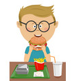 cute schoolboy eating burger in school canteen vector image vector image