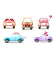 decorated wedding procession cars with balloons vector image vector image
