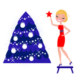 decorating the christmas tree vector image vector image