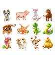 dog pig rat ox tiger rabbit dragon snake horse vector image