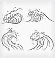 doodle ocean wave handdrawn outline sketch beach vector image