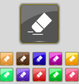 Eraser rubber icon sign Set with eleven colored vector image