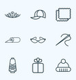 fashionable icons line style set with winter hat vector image