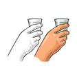 female hand holding glass vodka vintage engraving vector image vector image