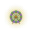 Ferris wheel icon comics style vector image vector image