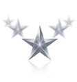 Five silver stars in the shape of wedge on white vector image vector image