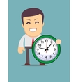 funny cartoon office worker with clock vector image vector image