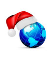 globe in a hat santa claus on a white vector image vector image