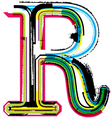 Grunge colorful font Letter R vector image vector image