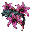 hand drawn koi fish with flower tattoo for arm vector image vector image
