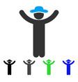 hands up gentleman flat icon vector image vector image