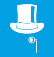 hat with monocle icon white vector image vector image