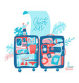 holiday planning travel banner with big suitcase vector image vector image