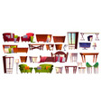 home furniture isolated interior icons vector image