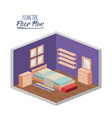 isometric floor plan of bedroom single bed in vector image