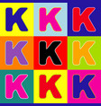 letter k sign design template element pop vector image