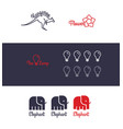 logo set with animals vector image