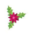 merry christmas celebration flower leaves vector image vector image