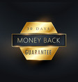 money back guarantee golden label badge design vector image vector image