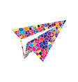 paper airplane sign stained glass icon on vector image