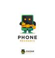 phone mechanic mascot logo vector image vector image