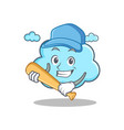 playing baseball cute cloud character cartoon vector image