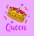 queen crown style doodle collection vector image vector image