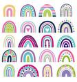 rainbow shapes kids logos in scandinavian vector image vector image