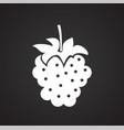 raspberry on black background vector image