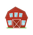 red wooden farm barn with big windows for keeping vector image