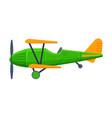 retro green biplane flying aircraft vehicle air vector image vector image