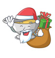 santa with gift cartoon sauce boat with cream vector image vector image