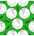 seamless pattern with curly sheep on a green vector image vector image
