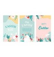 set easter floral backgrounds with copy vector image vector image