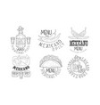 set of monochrome logos related to mexican cuisine vector image vector image