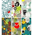 Set of vertical cards with birds and animals vector image vector image
