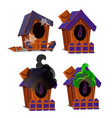 set of wooden birdhouses with a bat inside vector image vector image