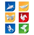 set white origami animal icons vector image