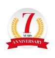 seventh anniversary badge label vector image
