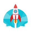 Startup The rocket takes off against vector image vector image