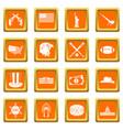 usa icons set orange vector image vector image