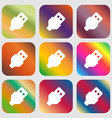 USB icon Nine buttons with bright gradients for vector image vector image
