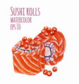 watercolor style of sushi vector image vector image