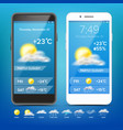 weather forecast app realistic smartphone vector image