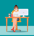 woman in the office at the table vector image vector image