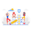 yoga crossword cartoon man woman yogist vector image vector image